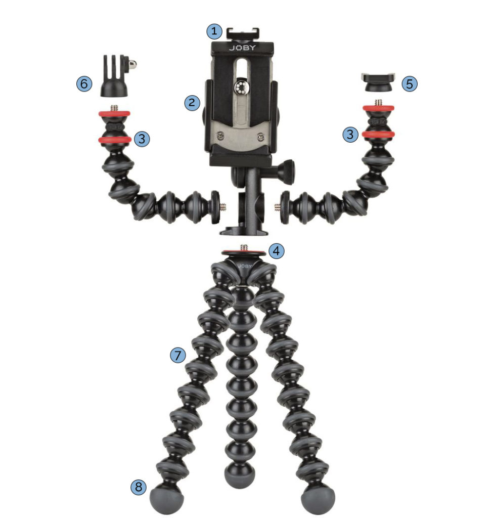 joby gorillapod mobile rig showing all attachments and accessories